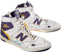 Basketball Collectibles:Others, Circa 1980's James Worthy Game Worn, Signed Los Angeles LakersShoes....