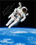 Autographs:Celebrities, Bruce McCandless Signed STS-41-B Untethered Spacewalk Color Photo,with Novaspace COA. ...