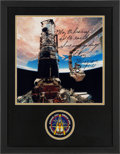 Autographs:Celebrities, Story Musgrave Signed Large STS-61 Color Photo in Framed Displaywith Mission Insignia Patch....