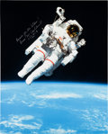 Autographs:Celebrities, Bruce McCandless Signed Large STS-41-B Untethered Spacewalk ColorPhoto, with Novaspace COA. ...