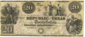 Autographs:Statesmen, Mirabeau B. Lamar $20 Engraved Republic of Texas Note Signed...