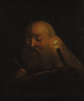 Fine Art - Painting, European:Antique  (Pre 1900), CONTINENTAL SCHOOL (Late 18th/Early 19th Century) . A ScholarWorking by Candlelight. Oil on paper laid on wood boar...