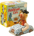 Toys:Miscellaneous, Fred Flintstone Friction Car Tin Toy with Box (Louis Marx Co. Inc., 1960s)....