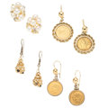 Estate Jewelry:Earrings, Diamond, Freshwater Cultured Pearl, Gold Coin, Gold, Gold-FilledEarrings. ... (Total: 0 Items)