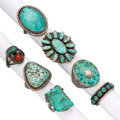 Estate Jewelry:Rings, Southwestern Turquoise, Silver Rings. ... (Total: 0 Items)