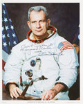 Autographs:Celebrities, Deke Slayton Signed White Spacesuit Color Photo. ...