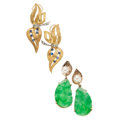 Estate Jewelry:Earrings, Diamond, Jadeite Jade, Cultured Pearl, Glass, Gold Earrings. . ...(Total: 4 Items)
