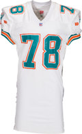 Football Collectibles:Uniforms, 1993 Richmond Webb Game Worn, Signed Miami Dolphins Jersey with Football Card Photo Match. ...