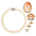 Estate Jewelry:Lots, Diamond, Multi-Stone, Cultured Pearl, Shell Cameo, Gold, Silver Jewelry . . ... (Total: 6 Items)