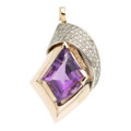 Estate Jewelry:Pendants and Lockets, Amethyst, Diamond, Gold Pendant. . ...