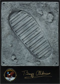 Explorers:Space Exploration, Buzz Aldrin Signed Moon Boot Footprint Reproduction on WoodenPlaque....