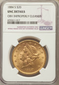 Liberty Double Eagles: , 1884-S $20 -- Obverse Improperly Cleaned -- NGC Details. Unc. NGC Census: (240/1892). PCGS Population: (129/1997). CDN: $1,...