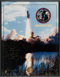 Explorers:Space Exploration, Space Shuttle Endeavour (STS-72) Flown Embroidered MissionInsignia Patch with Launch Photo Signed by Leroy Chiao ...