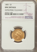 Three Dollar Gold Pieces, 1883 $3 -- Improperly Cleaned -- NGC Details. Unc....
