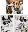 Autographs:Celebrities, Fred Haise Signed Apollo 13 Training and Launch Day SpacesuitPhotos (Three). ... (Total: 3 Items)