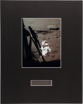 Autographs:Celebrities, Alan Shepard Signature and Apollo 14 Lunar Surface Color Photo inMatted Display. ...