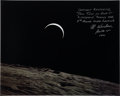 "Autographs:Celebrities, Al Worden Signed Large Apollo 15 ""Crescent Earthrise"" Lunar OrbitColor Photo with Handwritten Description. ..."