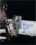 Autographs:Celebrities, Alan Bean Signed Large Apollo 12 Lunar Surface Color Photo. ...
