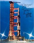 Autographs:Celebrities, Gene Cernan Signed Large Apollo 17 Launch Vehicle Color Photo. ...