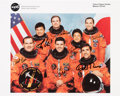 Autographs:Celebrities, Space Shuttle Columbia (STS-65) Crew-Signed Color Photo:Hieb, Chiao, Halsell, Cabana, Mukai, Thomas, and Walz. ...