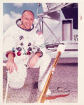 "Autographs:Celebrities, Alan Bean Signed Original NASA ""Red Number"" White Spacesuit ColorPhoto. ..."