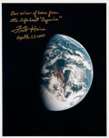 Autographs:Celebrities, Fred Haise Signed Apollo 13 Earth Color Photo....