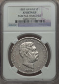 Coins of Hawaii , 1883 $1 Hawaii Dollar -- Surface Hairlines -- NGC Details. XF. NGCCensus: (67/303). PCGS Population: (174/481). Mintage 4...