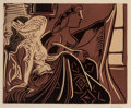 Prints:European Modern, Pablo Picasso (1881-1973). Deux femmes prês de la fenêtre,1959. Linocut in colors on Arches paper. 21 x 25-3/8 inches (...