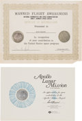 Explorers:Space Exploration, Apollo 8 & Apollo 11 Manned Flight Awareness Medals along withTen Vintage NASA Internal Certificates and Awards, a Great Coll...