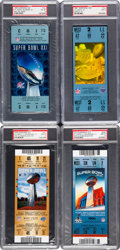 Football Collectibles:Tickets, 1987-2012 Super Bowl PSA Graded Full Tickets Lot of 4 - Giants Championships. ...
