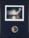 Explorers:Space Exploration, Ron Evans Apollo 17 Launch Color Photo Signed on Mat, in FramedDisplay with Insignia Patch, Originally from His Personal Coll...
