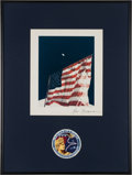 """Explorers:Space Exploration, Ron Evans Apollo 17 Lunar Surface """"Flag"""" Color Photo Signed on Mat, in Framed Display with Insignia Patch, Originally from His..."""