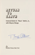 Autographs:Celebrities, Buzz Aldrin Signed Book: Return to Earth, with Vintage Random House Ad Slick, both Originally from His Persona...