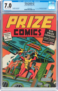 Prize Comics #1 (Prize, 1940) CGC FN/VF 7.0 Off-white to white pages