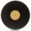 Sculpture, Christian Marclay (b. 1955). Untitled (Record Without a Groove), 1987. Black vinyl grooveless record with golden label, ...