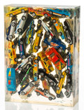 Sculpture, Arman (1928-2005). Car Accumulation (Matchbox Cars), 1985. Matchbox cars in Epoxy Resin. 12 x 9 x 3 inches (30.5 x 22.9 ...
