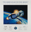 "Explorers:Space Exploration, Rick Herter ""We Should Go To The Moon"" Lithograph Originally fromBuzz Aldrin's Personal Collection. ..."