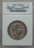 Coins of Hawaii , 1883 50C Hawaii Half Dollar -- Scratched -- ANACS. VF20 Details. NGC Census: (5/524). PCGS Population: (11/783). Minta...