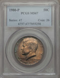 Kennedy Half Dollars, 1980-P 50C MS67 PCGS. PCGS Population: (172/0). NGC Census: (21/0).Mintage 44,134,000. ...