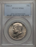 Kennedy Half Dollars, 1982-P 50C MS66 PCGS. PCGS Population: (233/9). NGC Census: (56/3).Mintage 10,819,000. ...