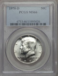 Kennedy Half Dollars, 1970-D 50C MS66 PCGS. PCGS Population: (527/14). NGC Census:(138/7). Mintage 2,150,000. ...
