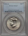Kennedy Half Dollars, 1993-D 50C MS67 PCGS. PCGS Population: (101/3). NGC Census: (112/2). ...