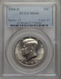 Kennedy Half Dollars, 1990-D 50C MS66 PCGS. PCGS Population: (145/13). NGC Census:(109/29). ...