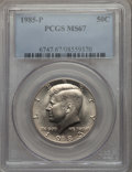 Kennedy Half Dollars, 1985-P 50C MS67 PCGS. PCGS Population: (55/0). NGC Census: (60/1).Mintage 18,706,962. ...