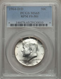 Kennedy Half Dollars, 1964-D/D 50C Repunched Mintmark, FS-501, MS65 PCGS. PCGSPopulation: (31/4). ...