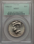 Kennedy Half Dollars, 1992-D 50C MS67 PCGS. PCGS Population: (152/3). NGC Census: (47/1)....