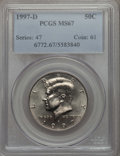Kennedy Half Dollars, 1997-D 50C MS67 PCGS. PCGS Population: (62/4). NGC Census: (54/5)....