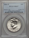 Kennedy Half Dollars, 2004-P 50C MS67 PCGS. PCGS Population: (60/4). NGC Census: (89/5). ...