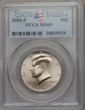 Kennedy Half Dollars, 2006-P 50C Satin Finish MS69 PCGS. PCGS Population: (101/0). ...