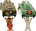 Toys:Miscellaneous, Casper and Flintstone Turnover Tank Tin Toy Group (Linemar Co. Inc., 1961)....
